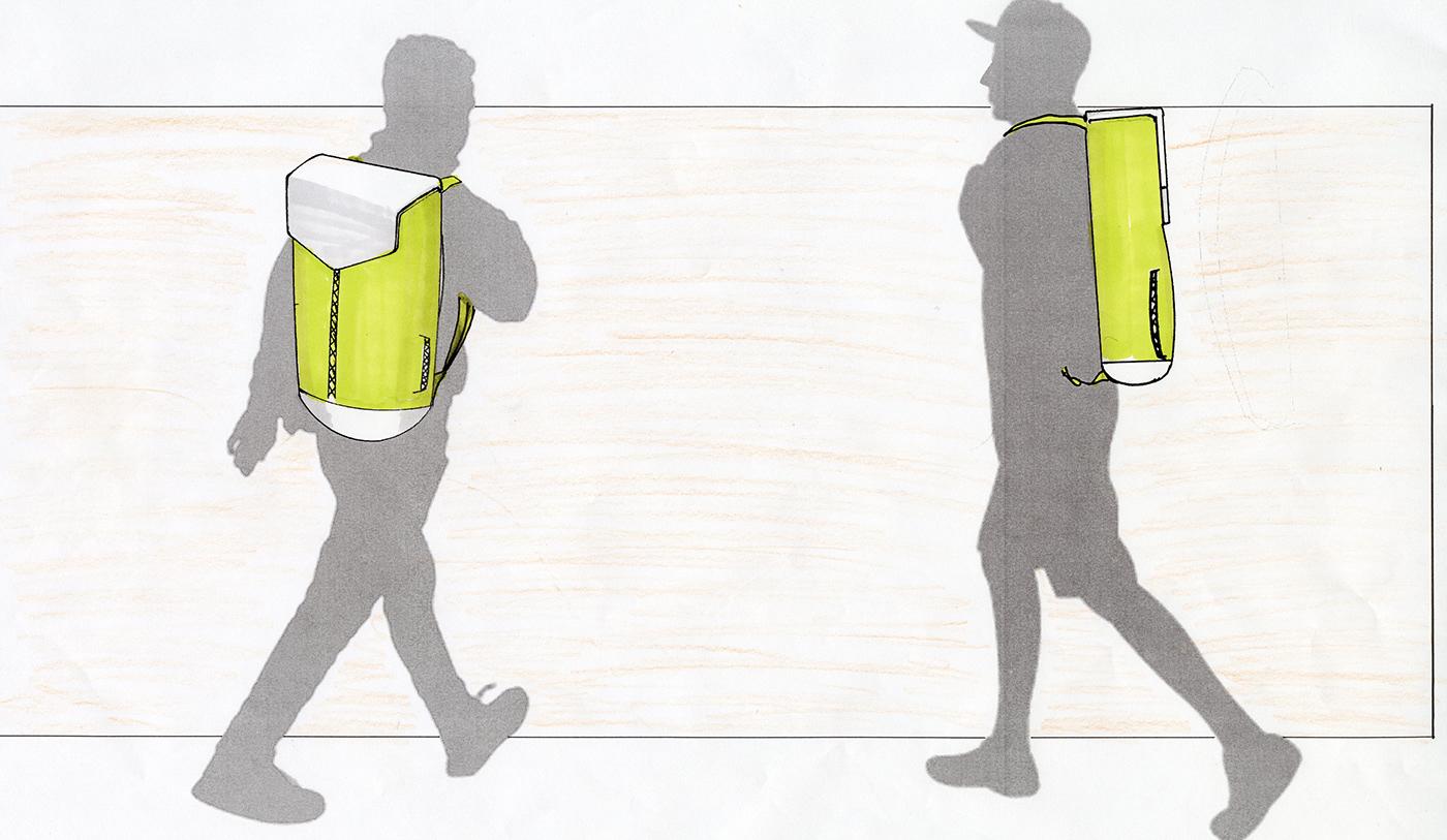 basketball bag hand sketch product design  industrial design  soft plastic materials hand rendered concept
