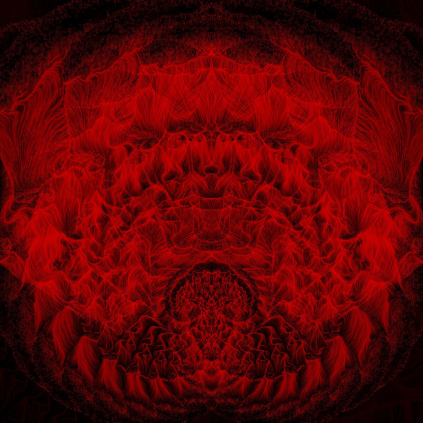 algorithmic art line art red black