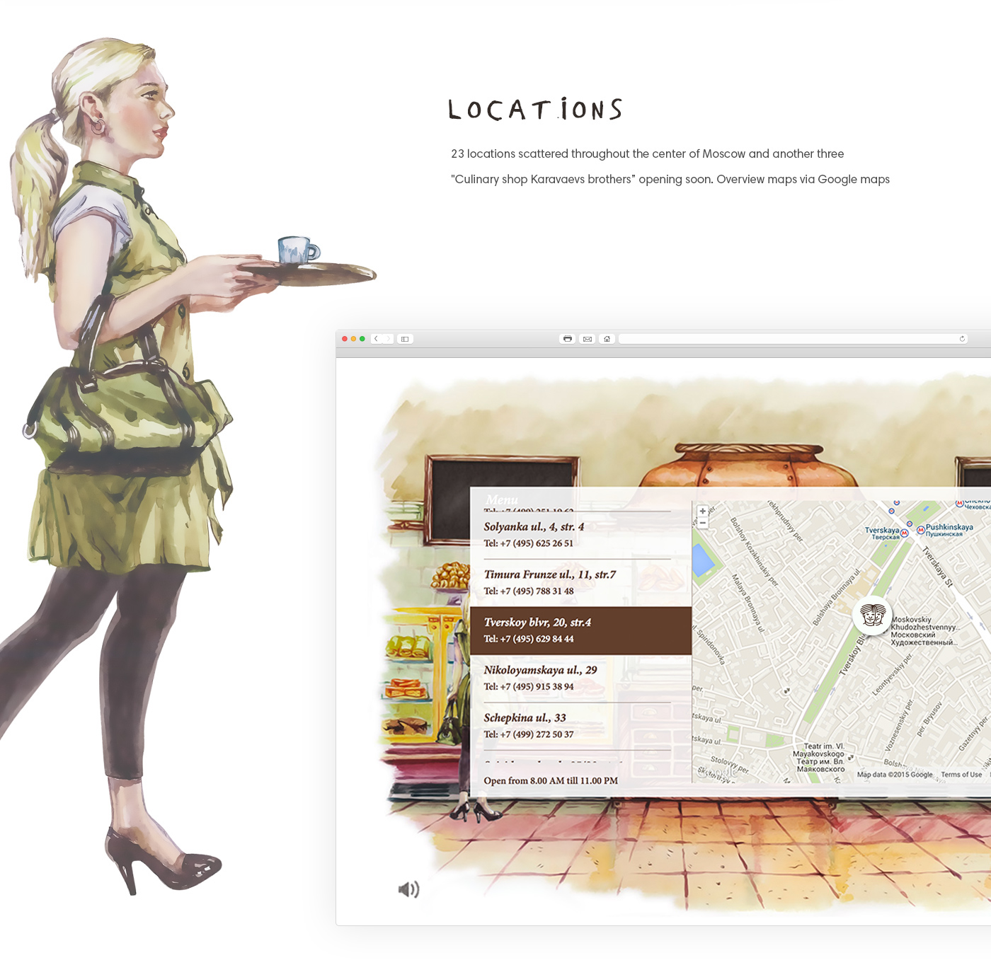 Webdesign artzgeo characters Website site draw design art watercolor pen Culinary shop cake cooking