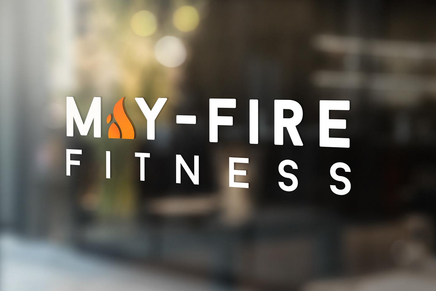 fitness gym branding  logo fire