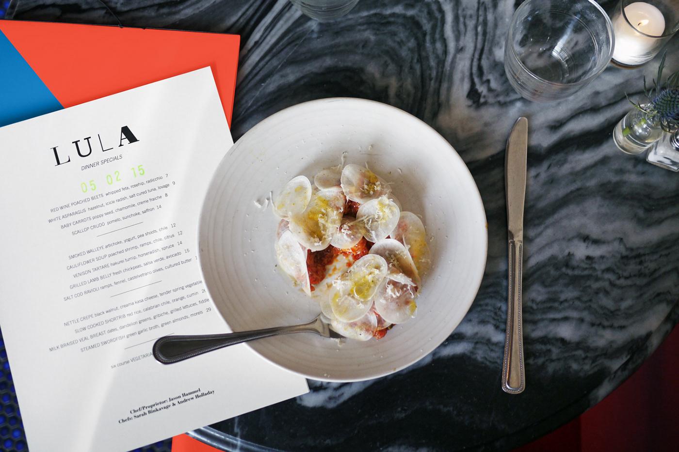 print design  lula cafe chicago menu design