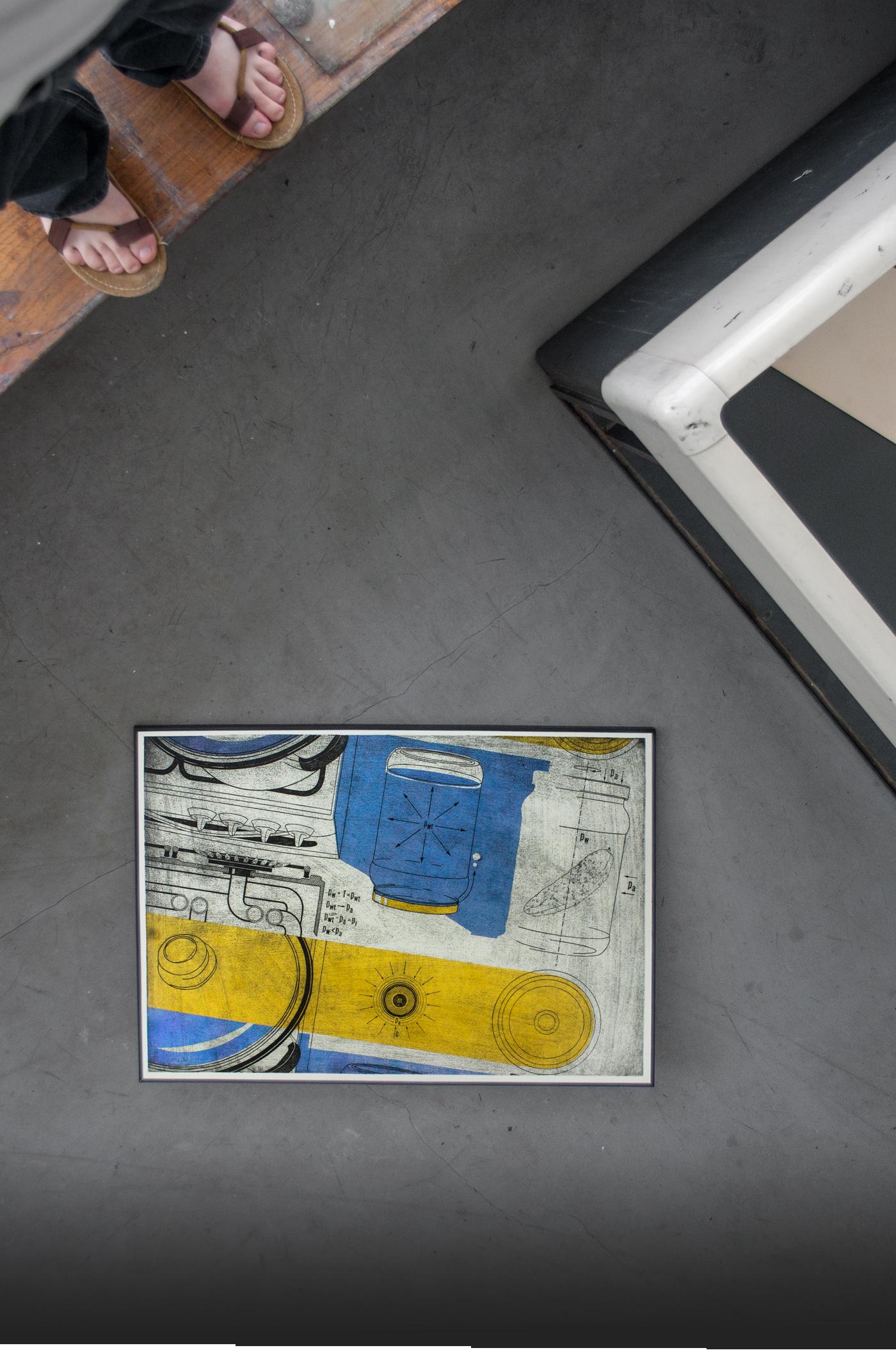 Machowski macha grawitacja intaglio graphic Workshop gravity