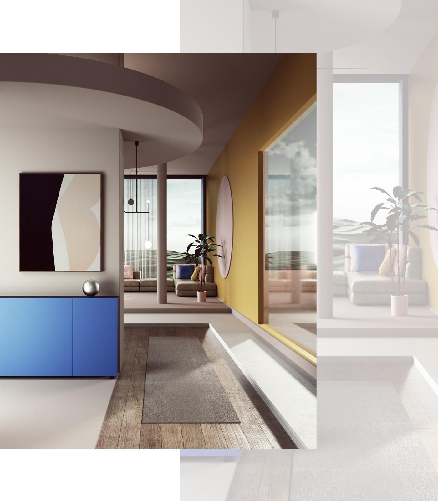 3D abstract architecture c4d cinema4d design dreamscape Interior petertarka surreal