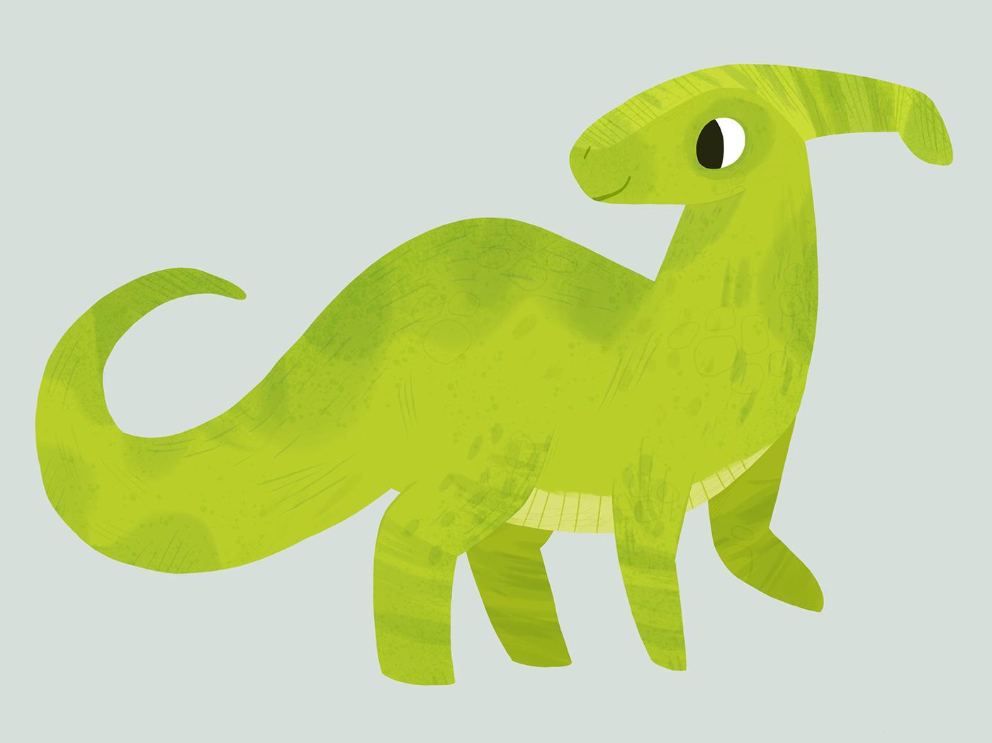 Dinosaur parasaur Procreate cute process iPad ipad pro Dino