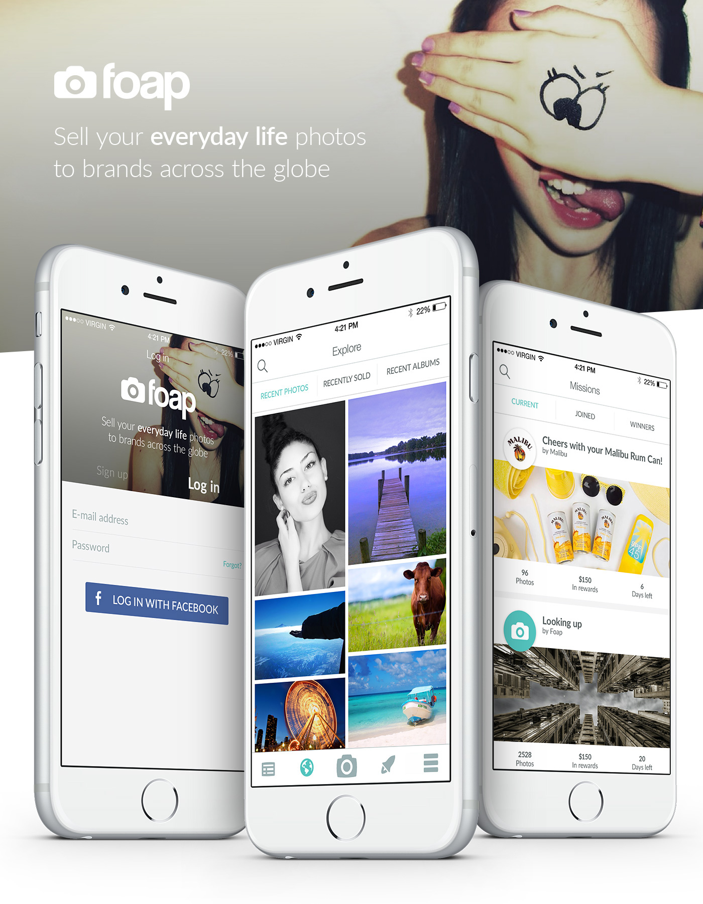 foap photo app application mobile Mobile app Mobile Application ios iphone android Icon sell photos smartphones material material design