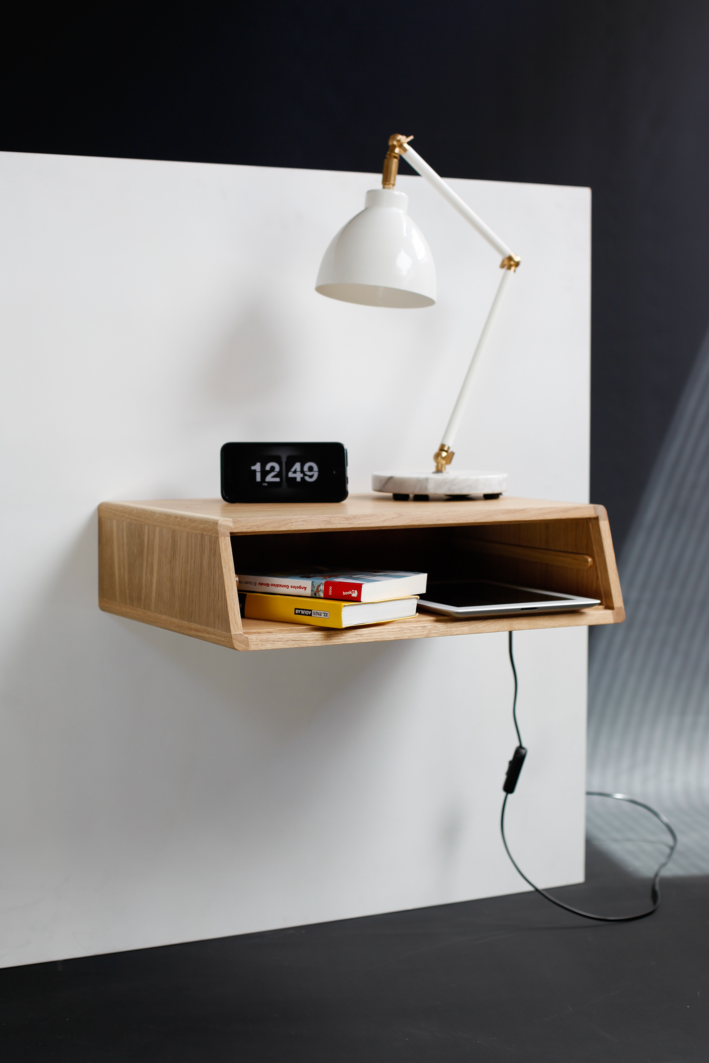 Nightstand Table: Floating Nightstand / Bedside Table / Drawer In Oak On Behance