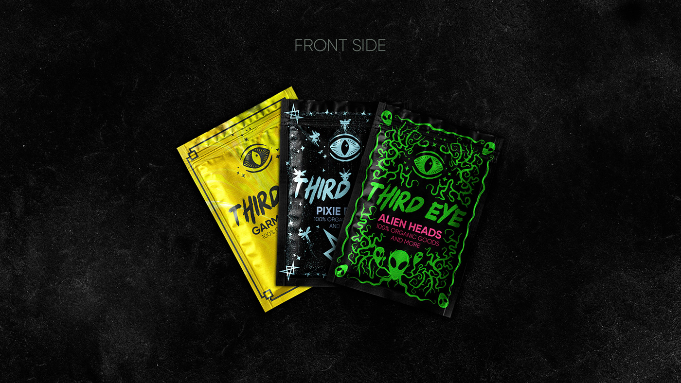 black branding  cthulhu dark Food  Glitch graphic occult package Packaging