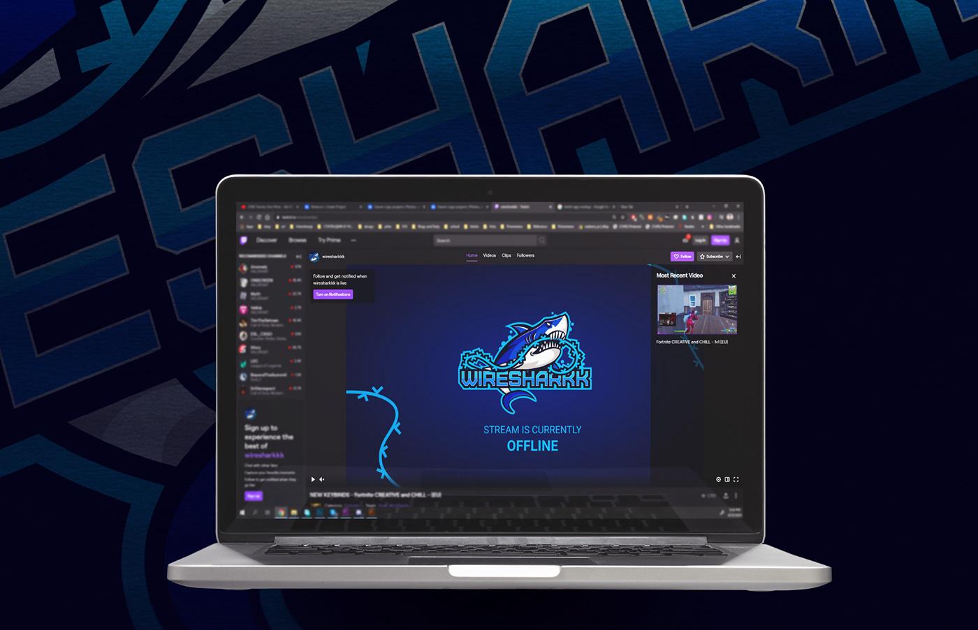 shark logo on a laptop mockup