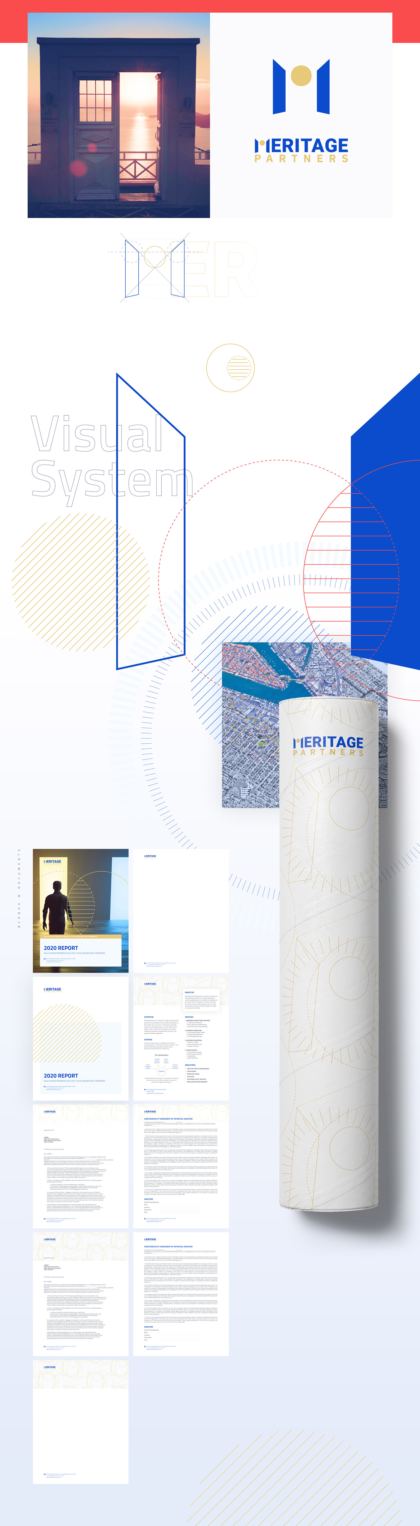 Tube, blanks, documents, presentations, pattern as a part of rebranding process for MeritagePartners