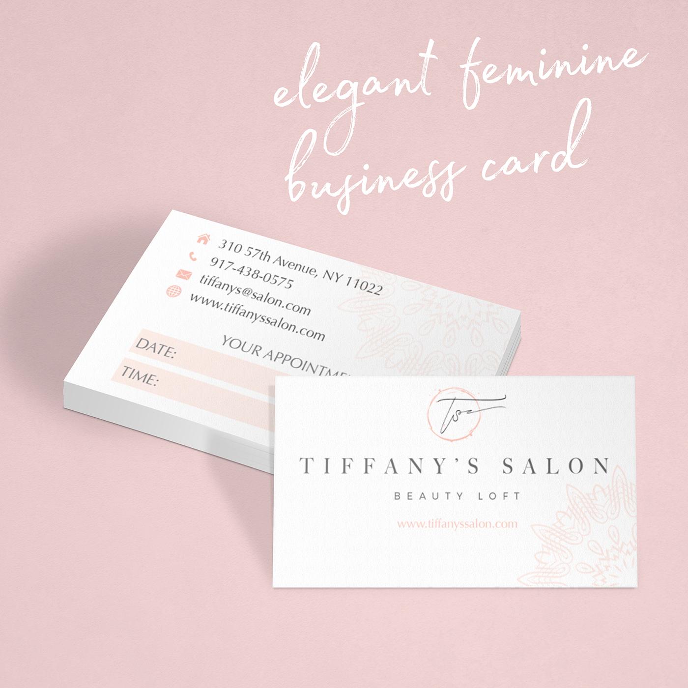 Elegant feminine business card Pink, white on Behance