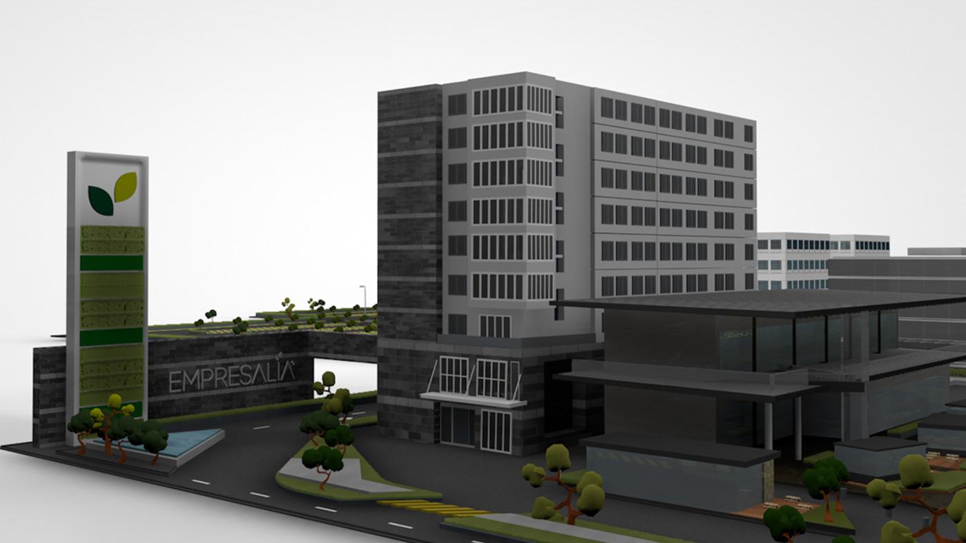 Masterplan buildings model materials construction timeline 3D amenities Maqueta Cinema