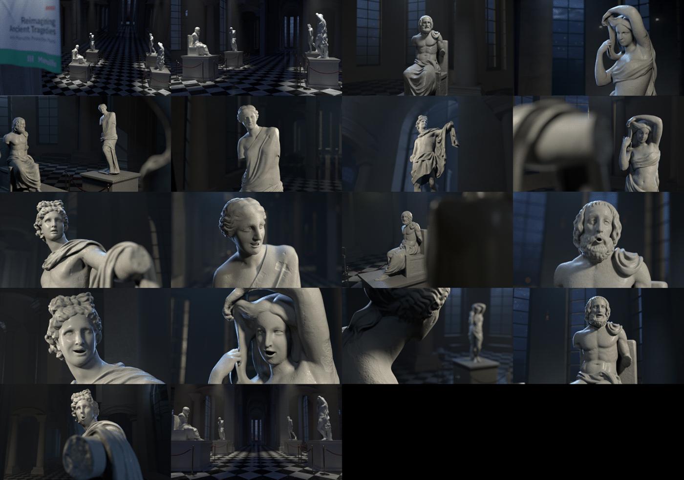 3D advert Ancient facial capture greek lipsync Manulife mocap statues Maya