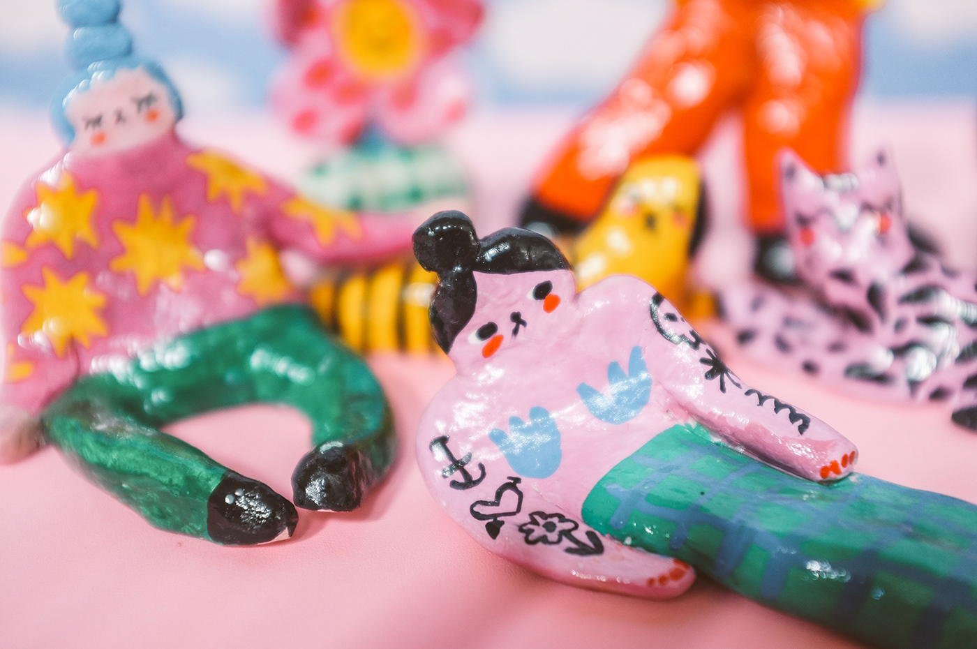 3D ceramic characters clay colorful ILLUSTRATION  liunic sculpture