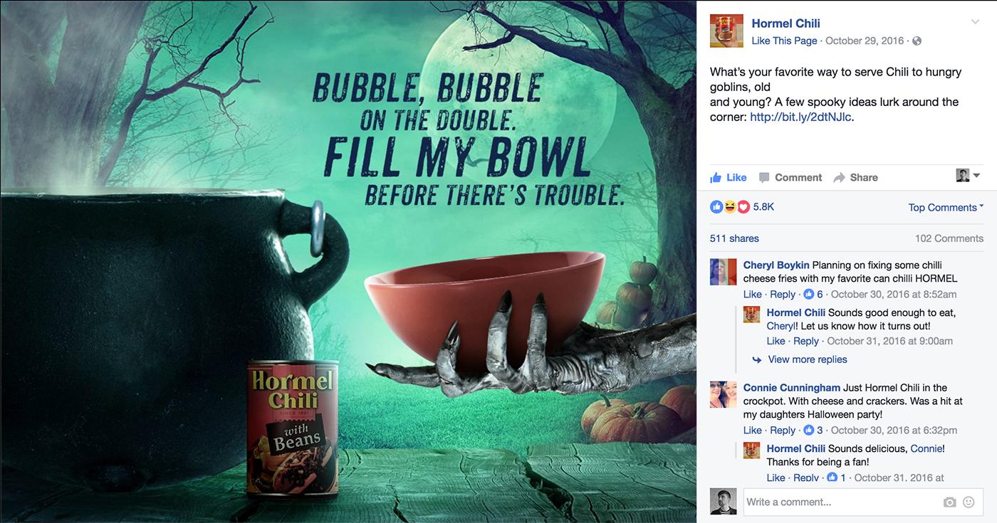 Hormel Chili cpg facebook social media copywriting