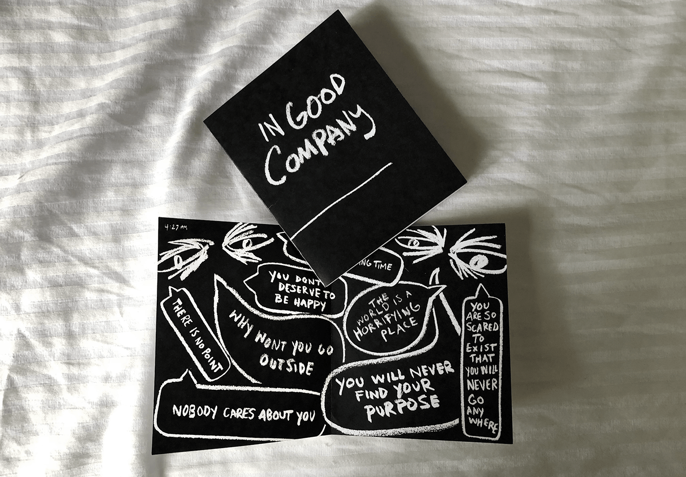 Zine  charcoal anxiety mental health printed Booklet Handlettering Overthinking pandemic Quarantine