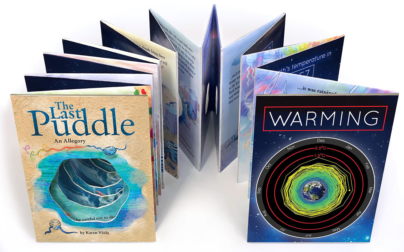 accordion allegory artist's book book art climate change Digital Art  handmade ILLUSTRATION  storybook survival