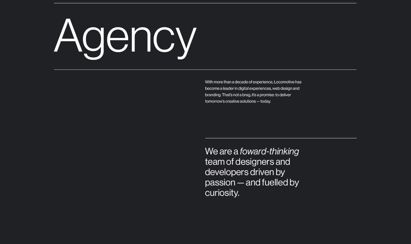 agency locomotive Montreal lines typography   black and white swiss portfolio ai Fun