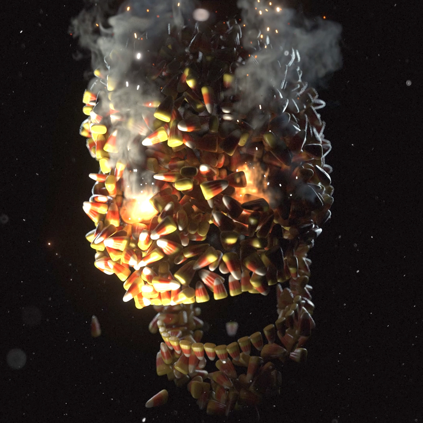 candy corn Halloween skull x-particles 3D animation  cinema 4d fire