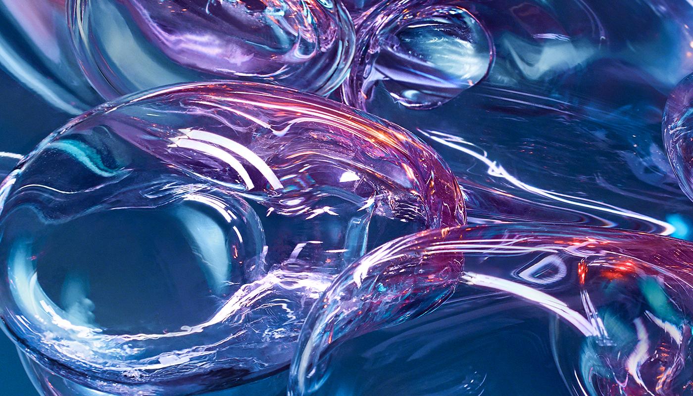 photoshoot sculpture glass Glassworks handcrafted cloud Glass Cloud retouch album cover bubbles