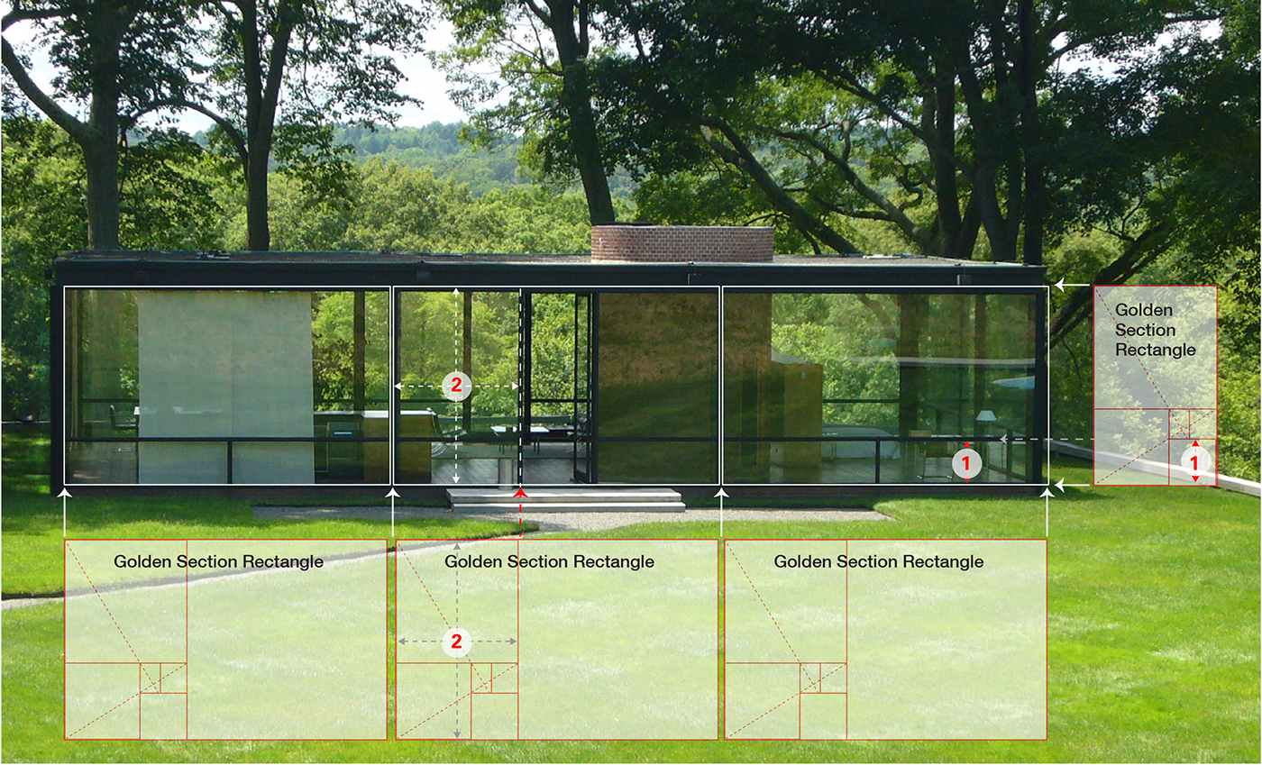 Philip johnson glass house plan section and elevation for The glass house plan