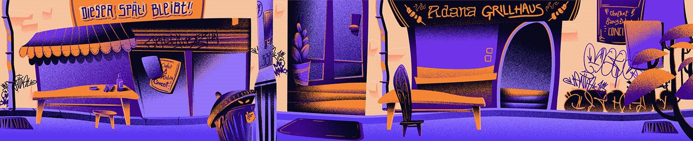 animation  berlin Character Grime ILLUSTRATION  music musicvideo orange purple rap