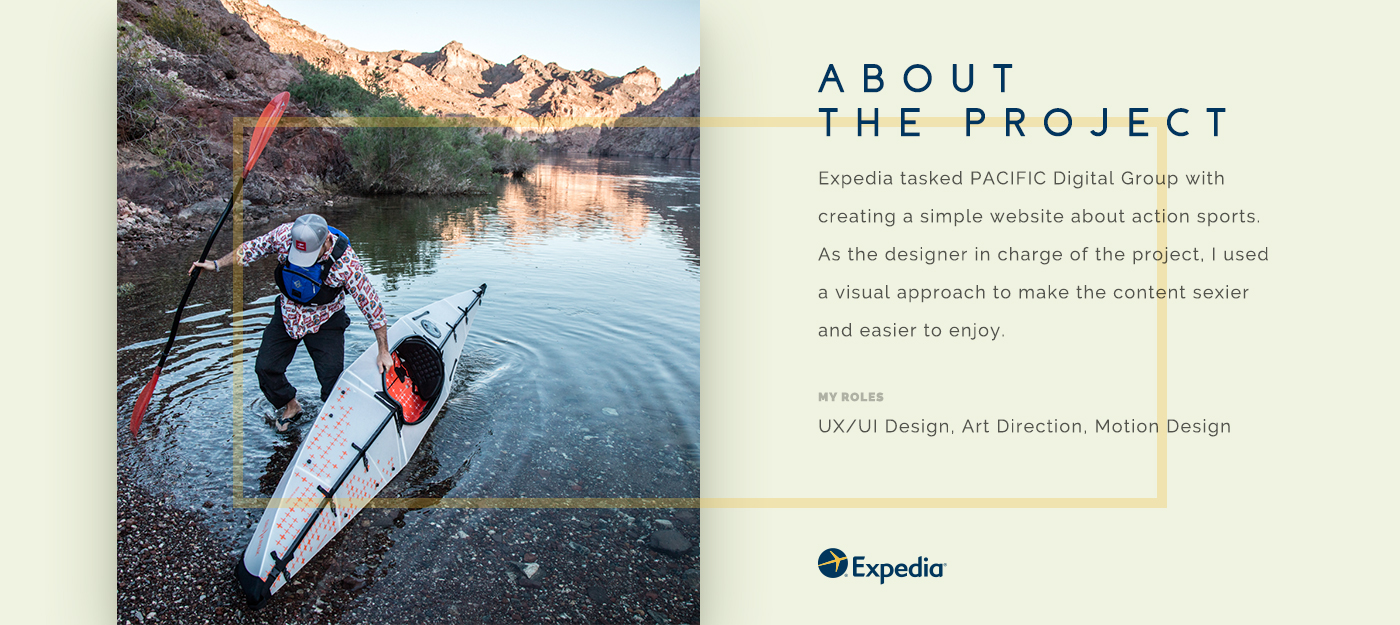 Website action sports kayak Responsive parallax animation  interaction cards