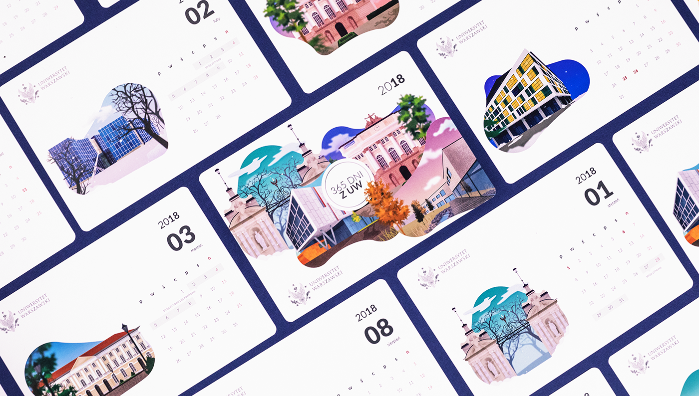 calendar ILLUSTRATION  architecture product design  warsaw University design