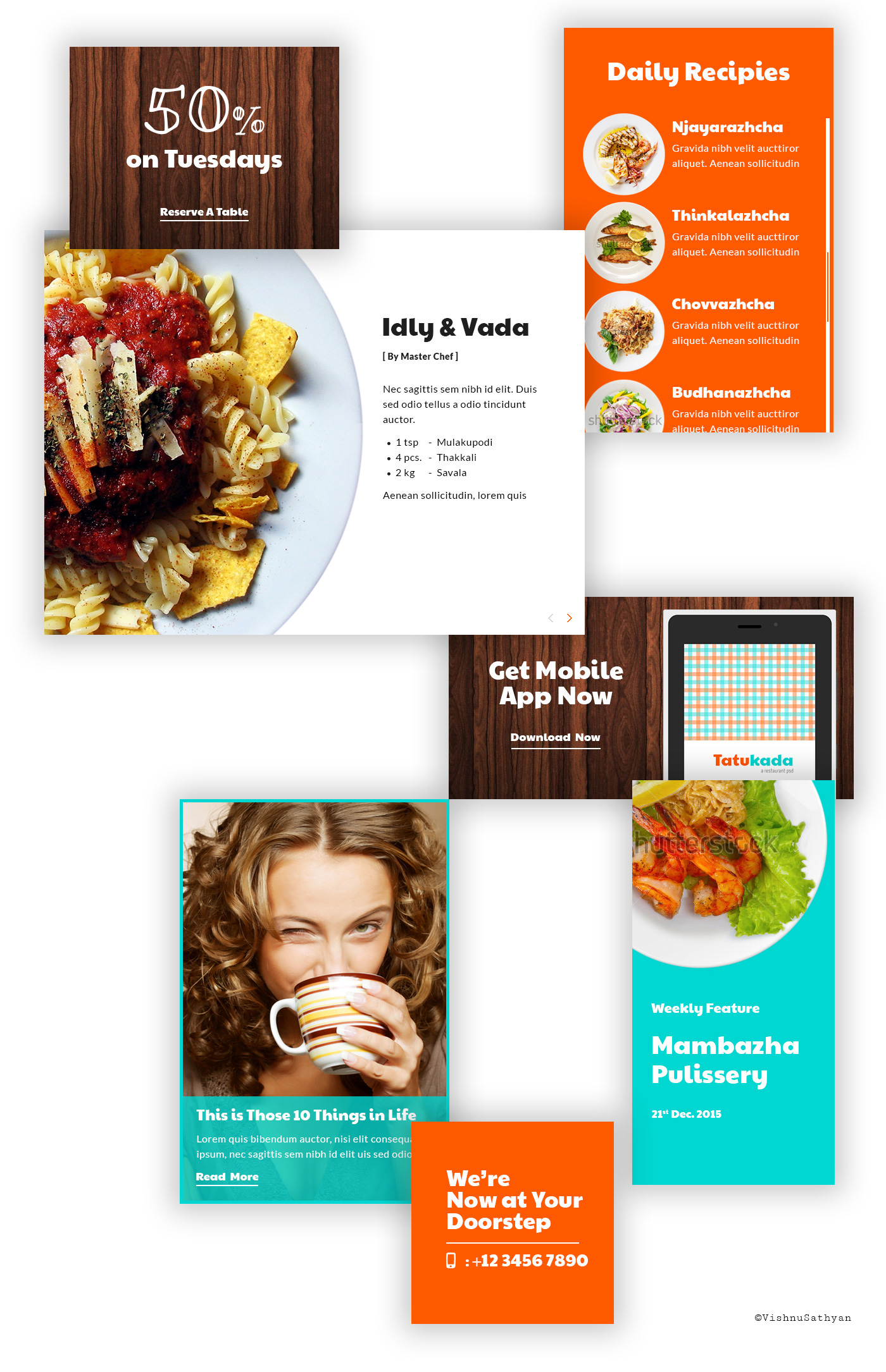freebie free psd Website template tatukada tattukada vishnusathyan restaurant hotel Food  eat foodie