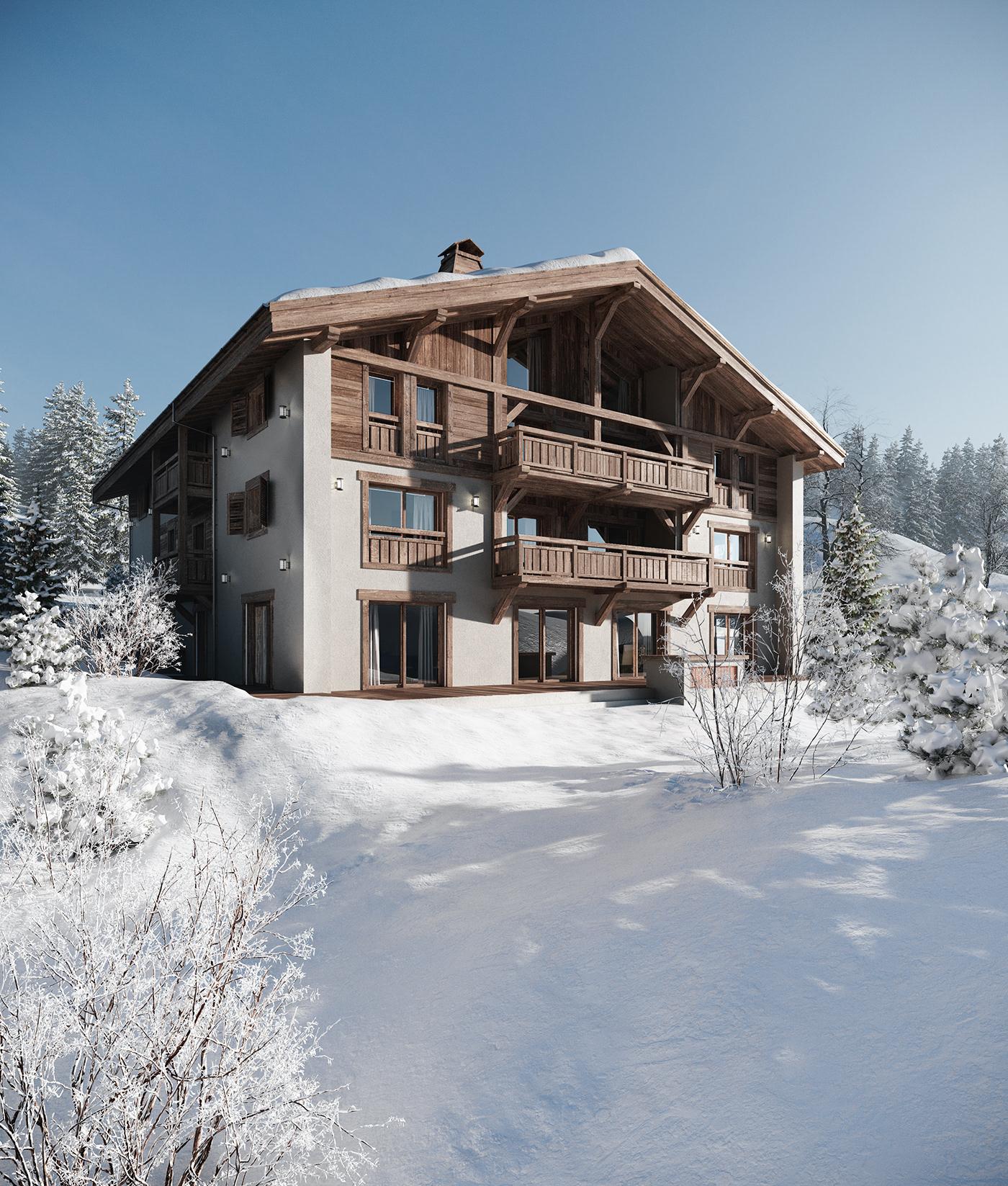 obraz27 winter snow ice Hot chalet pine viz Render