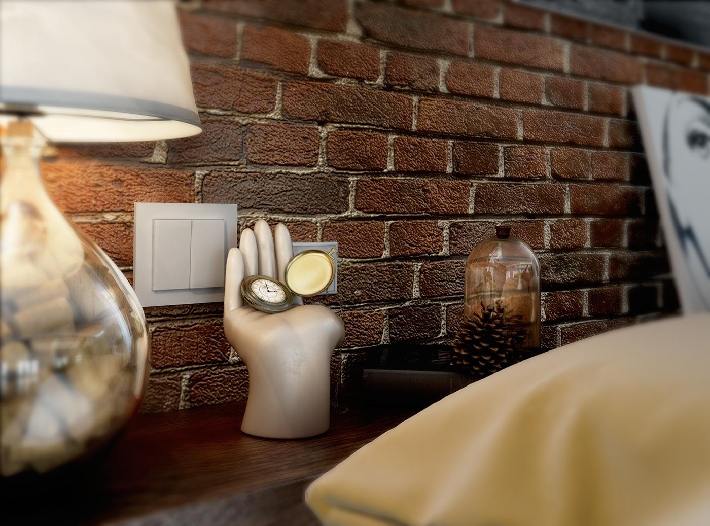 LOFT industial industriale bed camera da letto Interior design progettazione 3dsmax vray Render rendering photoshop postproduzione render fotorealistico