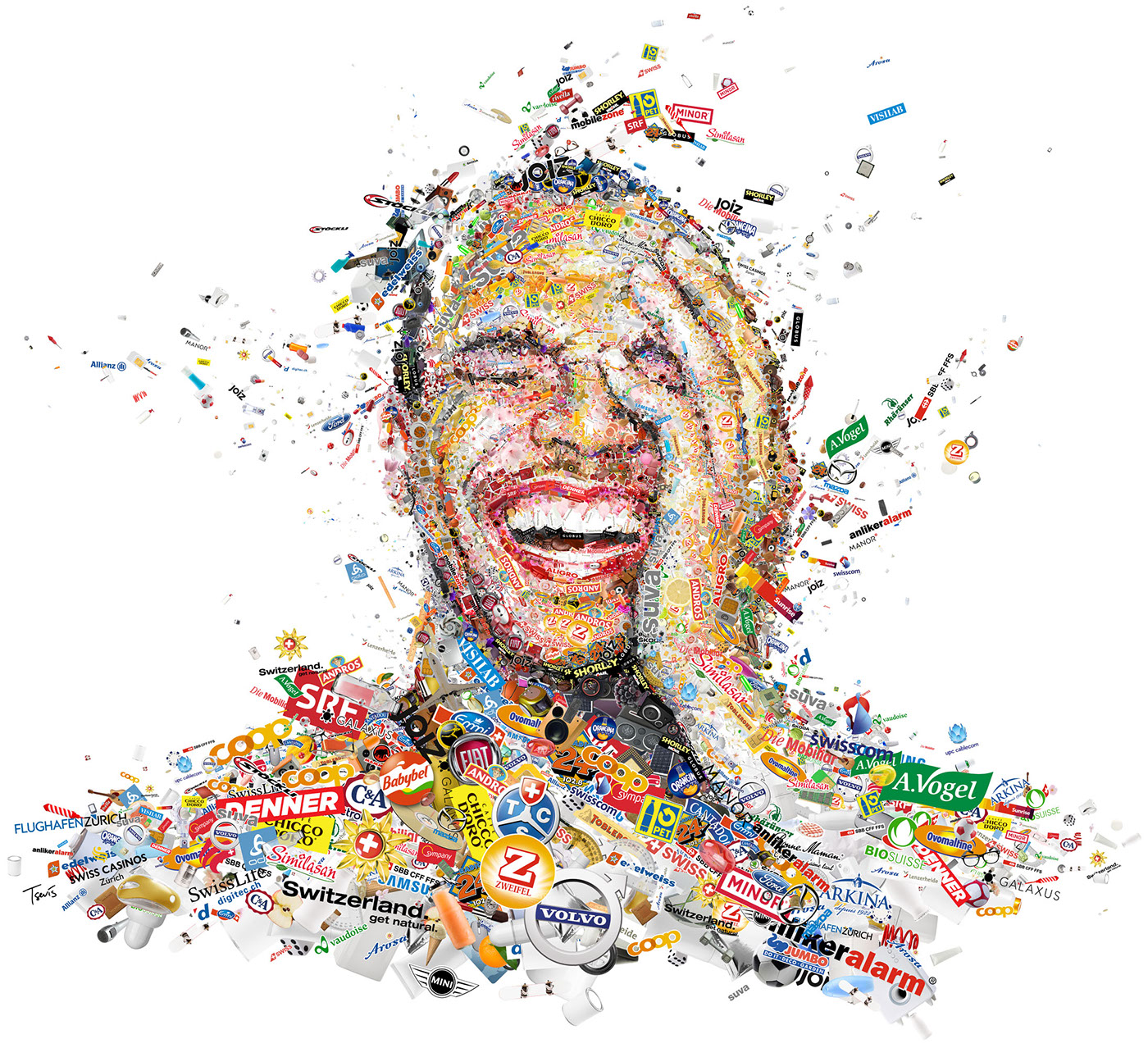 photomosaic,portrait,brands,Expression,marketing  ,Switzerland,Graphic designs,communication,computer graphics,posters,Billboards,laughing,crying