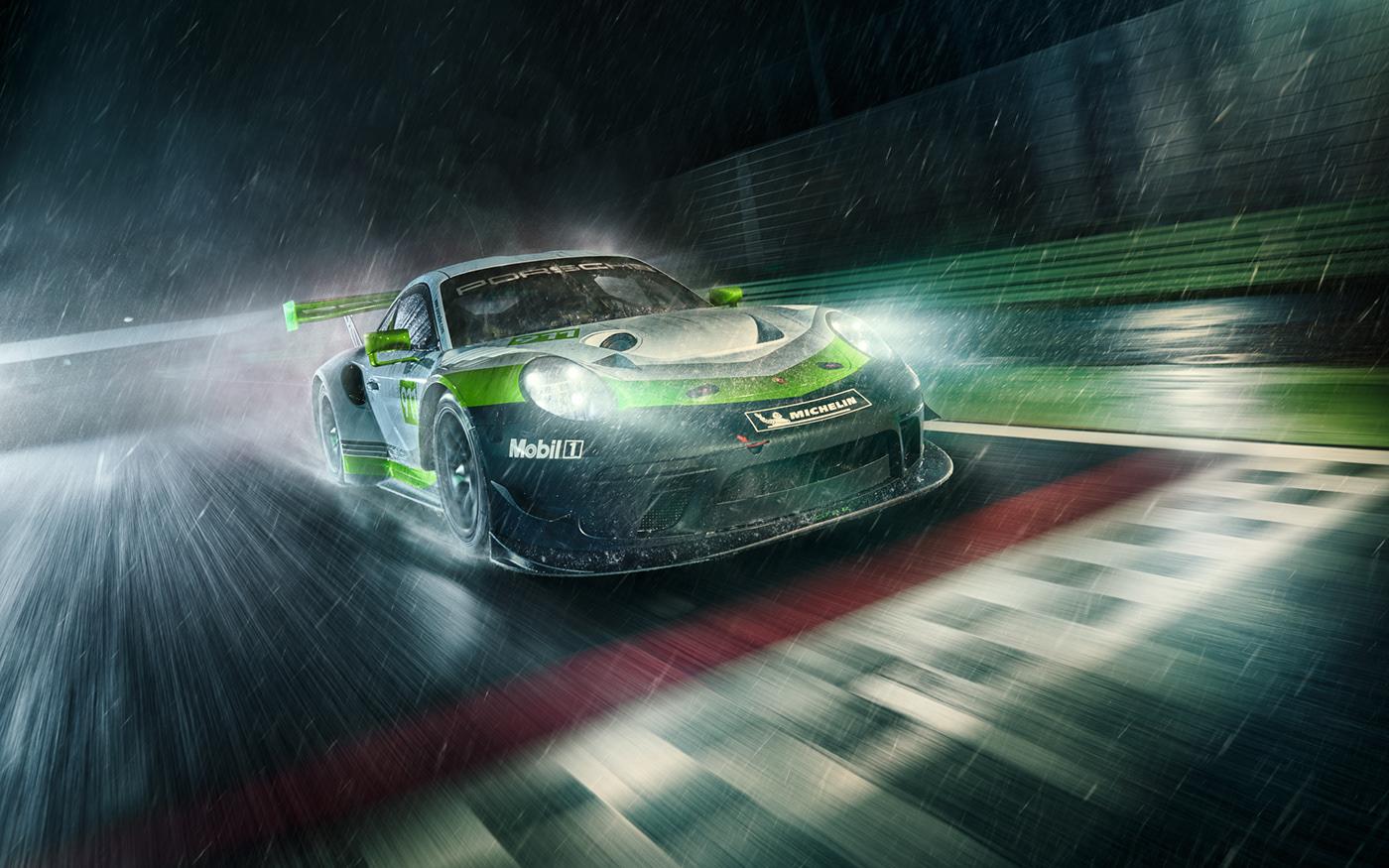 automotive   campaign green Motorsport night Performance Car race race car race track supercar