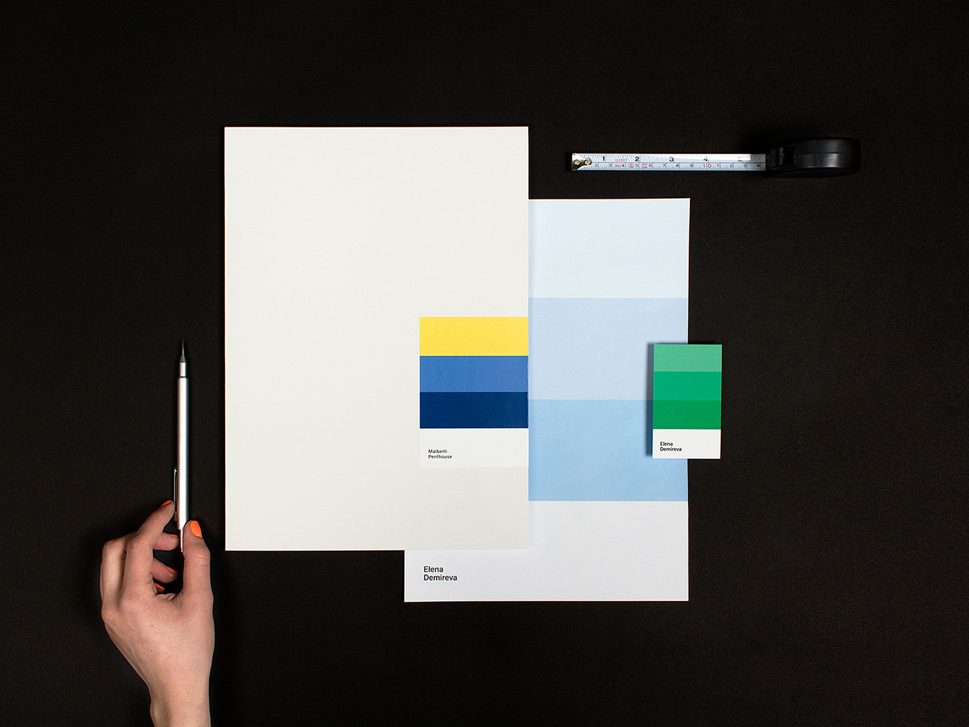 identity interior design  colorful Business Cards Stationery personal brand mood