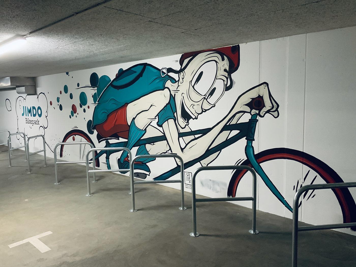acrylic Bike cartoon Character design  cyclist Graffiti huge Mural wall art