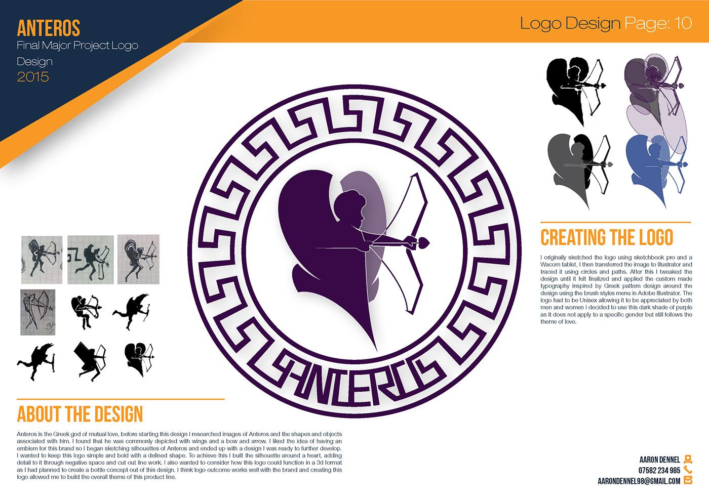Anteros purple logo design angel wings greek Greece inspired