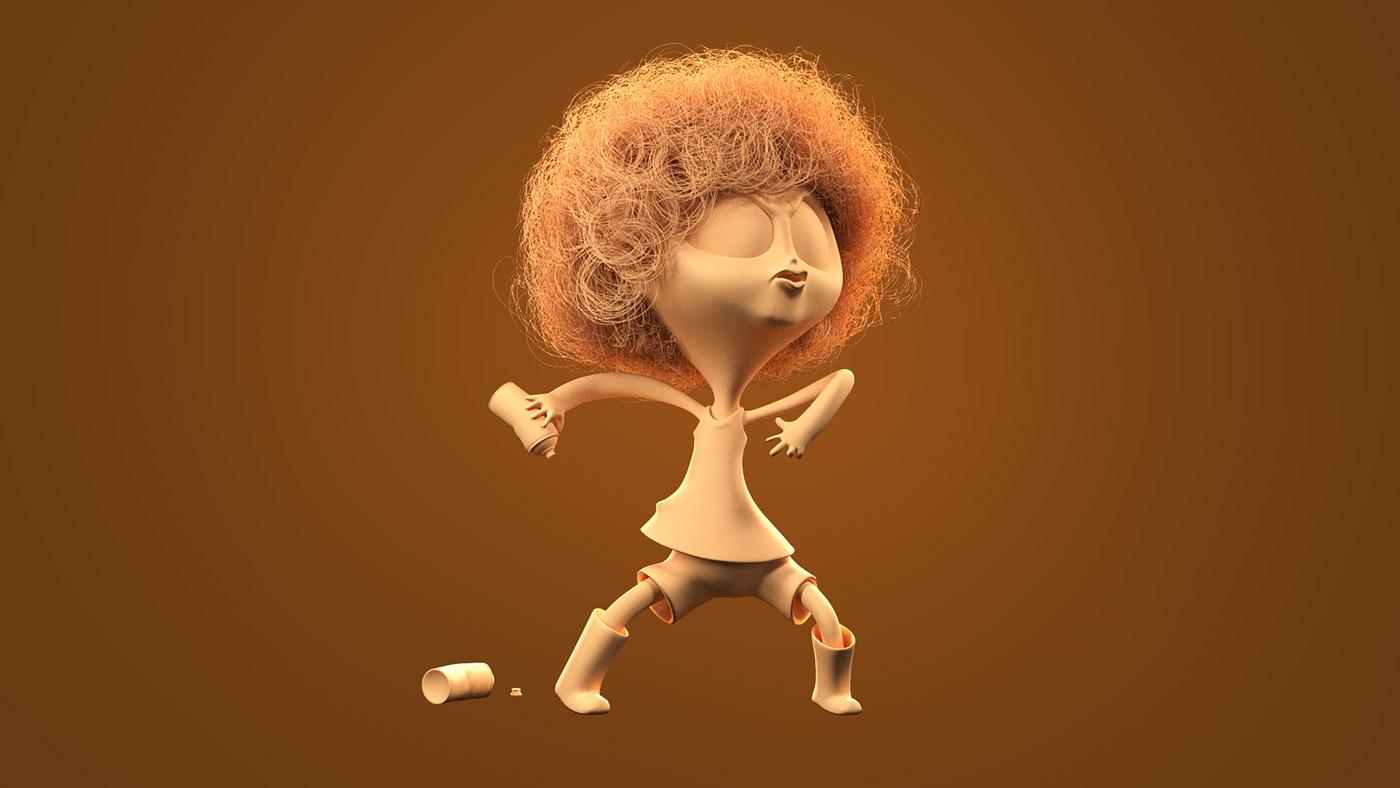 3D cartoon Character hair jorel Mascot network personagem