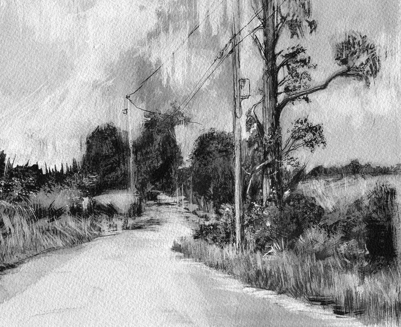 John McCartin | Landscapes - Oil, Pastel, Acrylic in 2019 ... |Tree Landscape Drawing