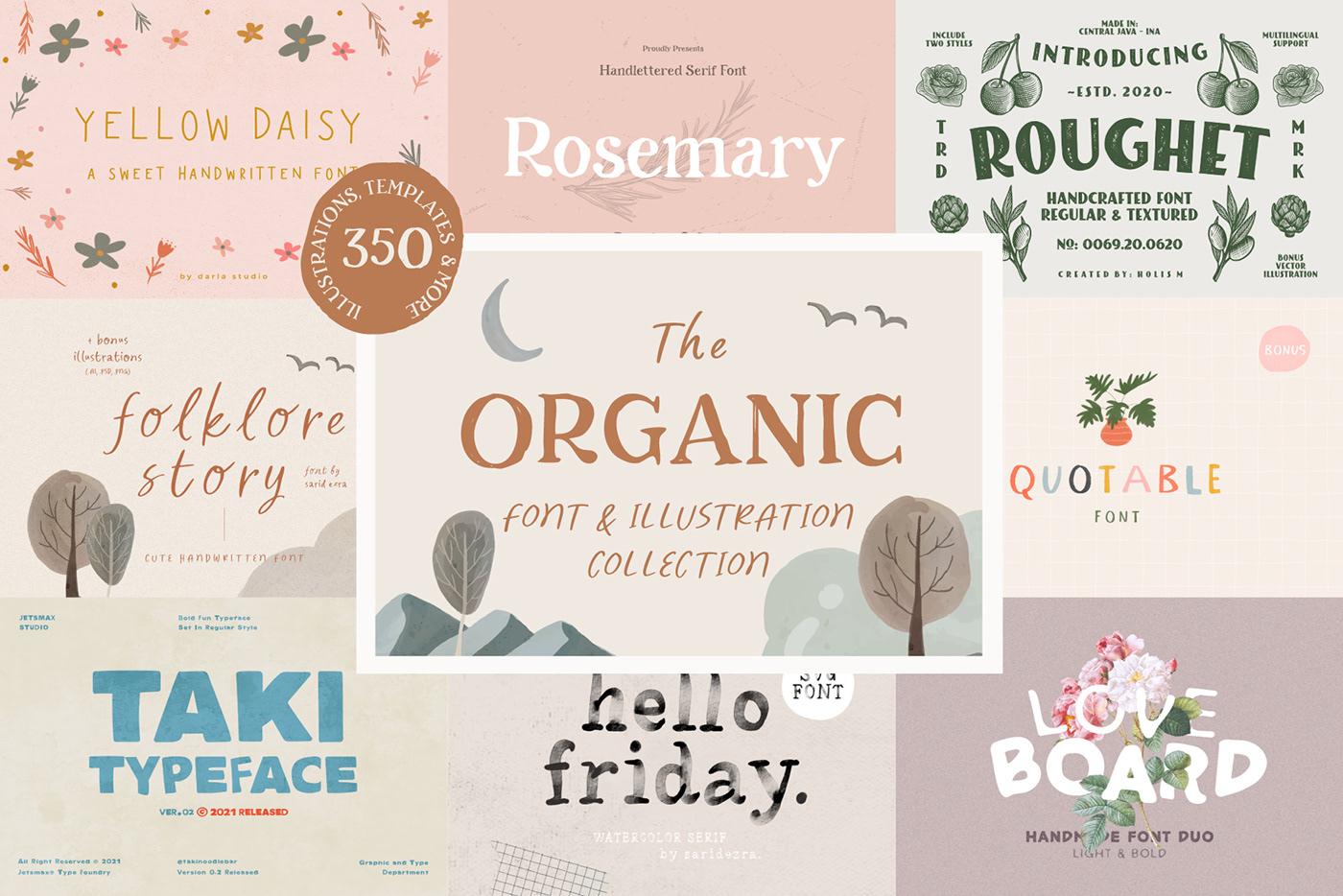 brand identity branding  floral fonts hand drawn handwritten illustrations organic Typeface typography