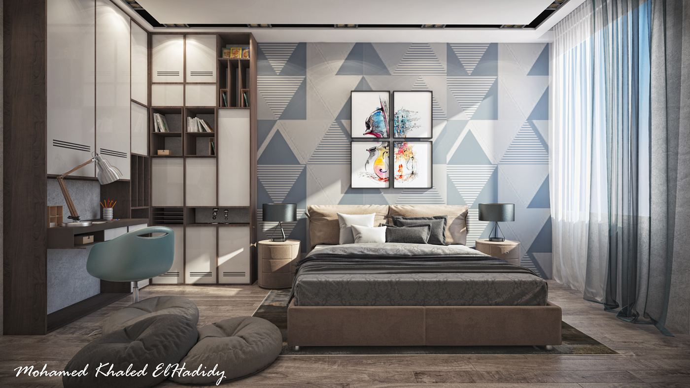 Modern Teenage Bedroom Design for a Private Villa on Behance