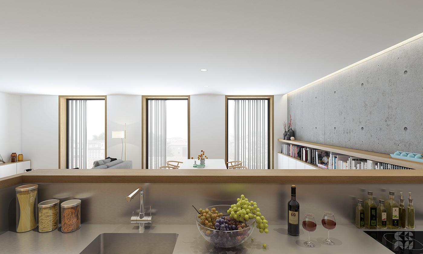 3D Render flat apartment Interior design photoshop 3dmax minimal vray living kitchen wood paimio Carlhansen
