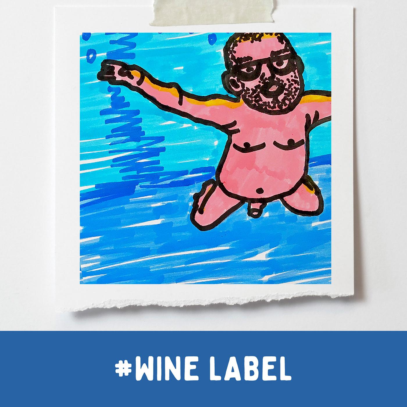 Product label / wine drawn label / NIRVINO / NIRVANA