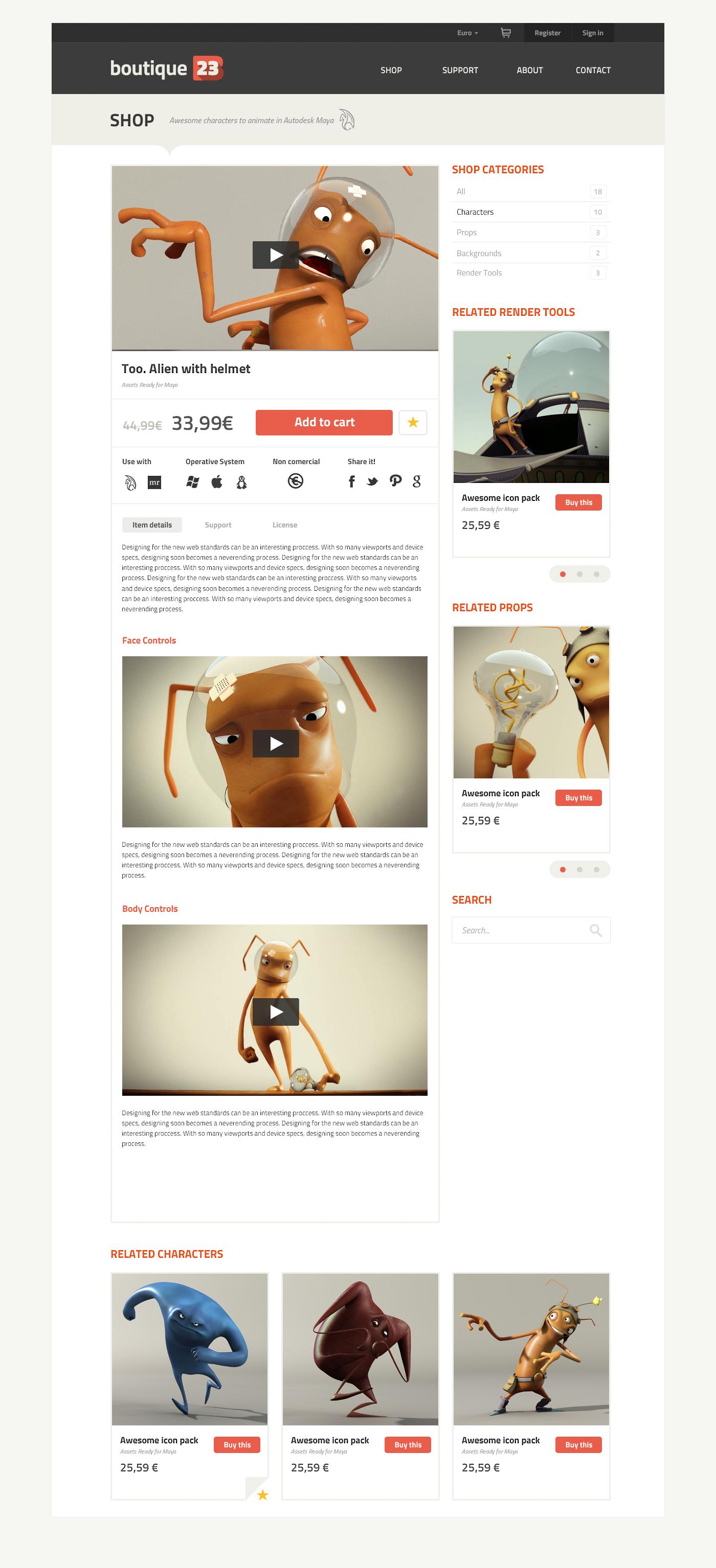 ux UI Ecommerce Web 3D