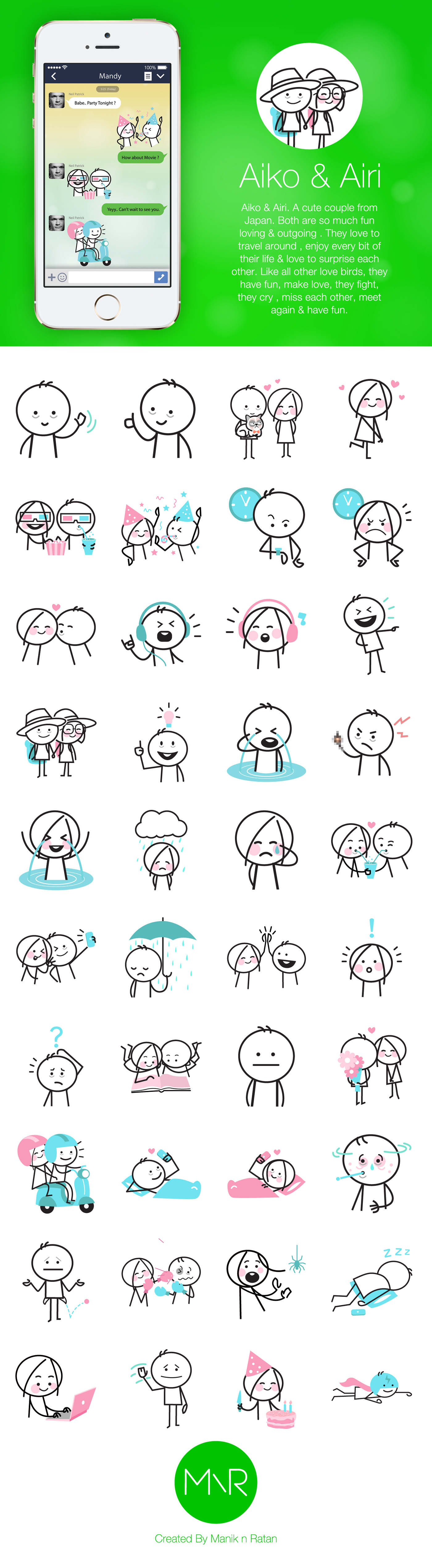 art line sticker japanese couple Chat vector Character sticky Love romantic doodle Line Sticker simple simplified