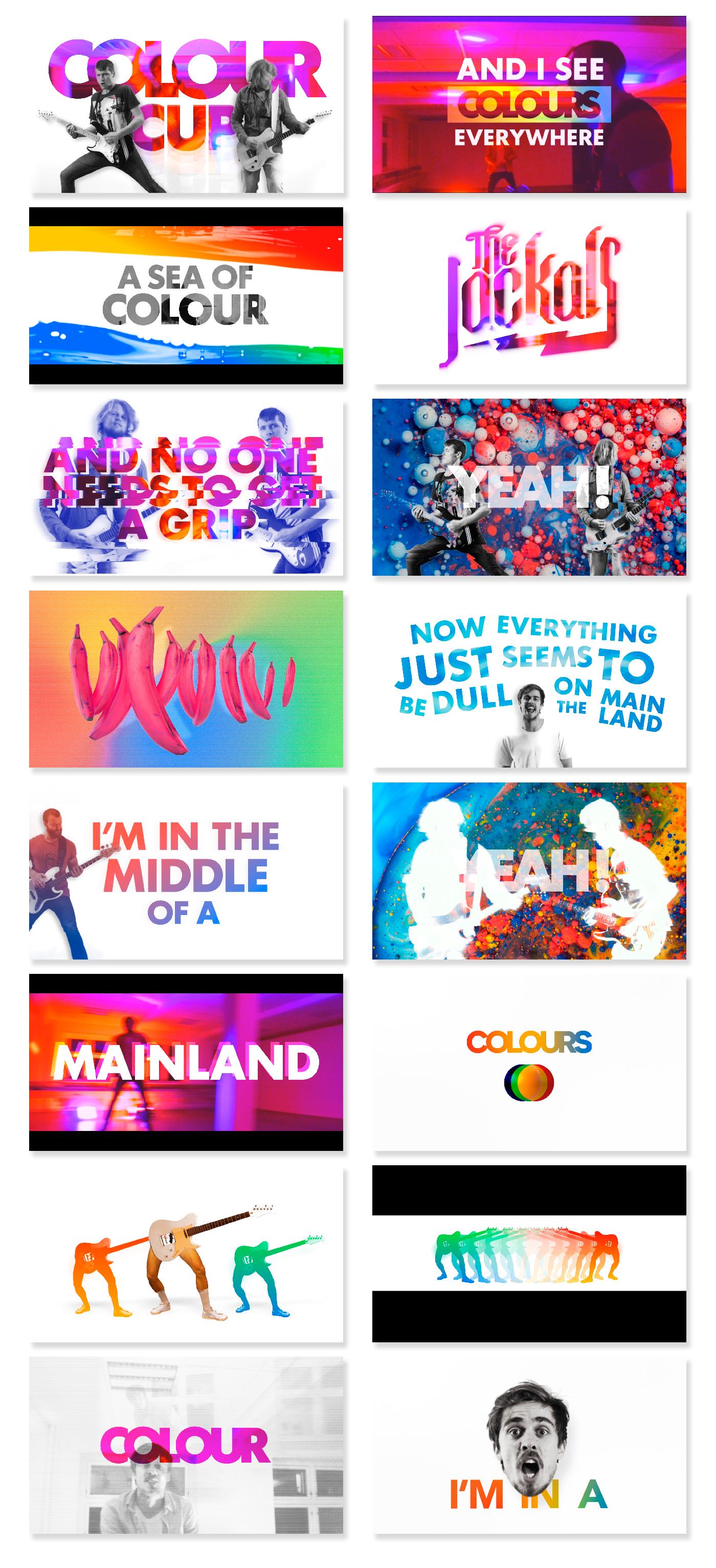 music video rock colours colorful motion design Lyric video party colors gradient