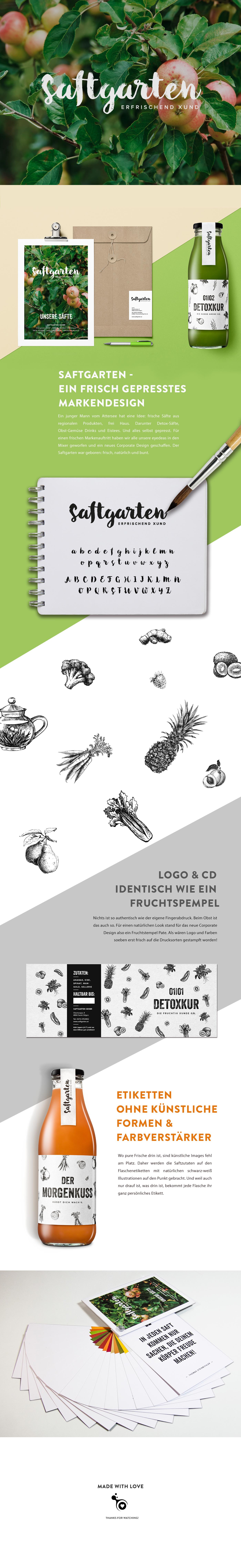 print cd ILLUSTRATIONEN gesund Früchte Obst Gemüse farben natur Saftgarten verpackungsdesign Säfte detox eistee Detoxkur