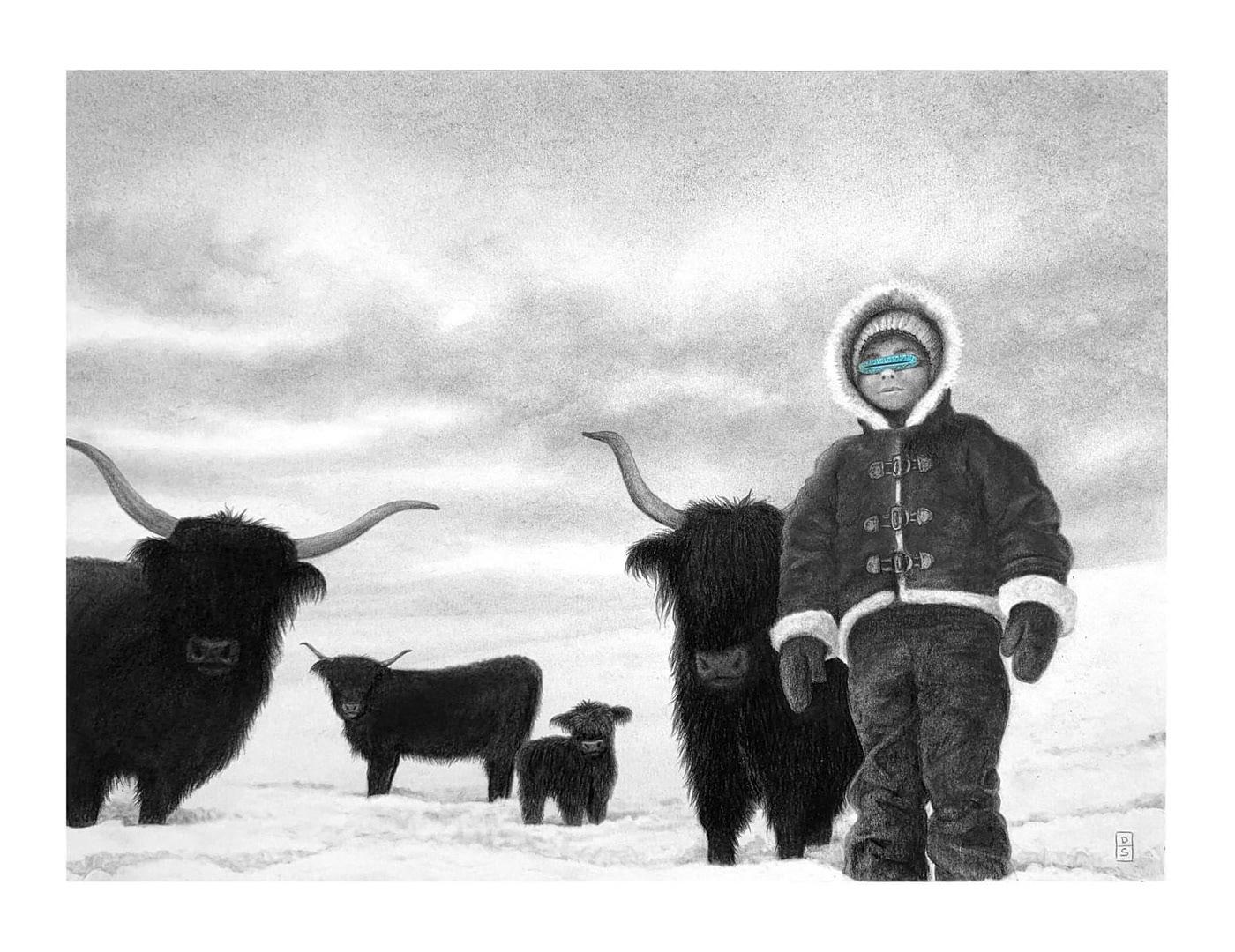 blue Highland cow snow winter
