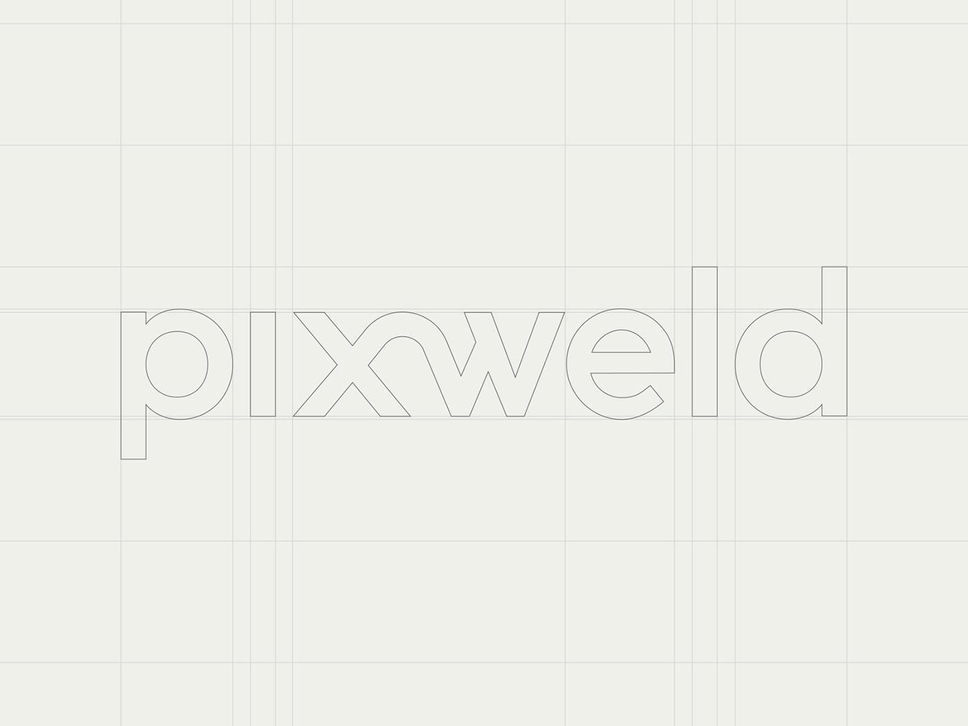 branding  identity pixweld pattern logo wordmark typography   minimal corporate businesscards