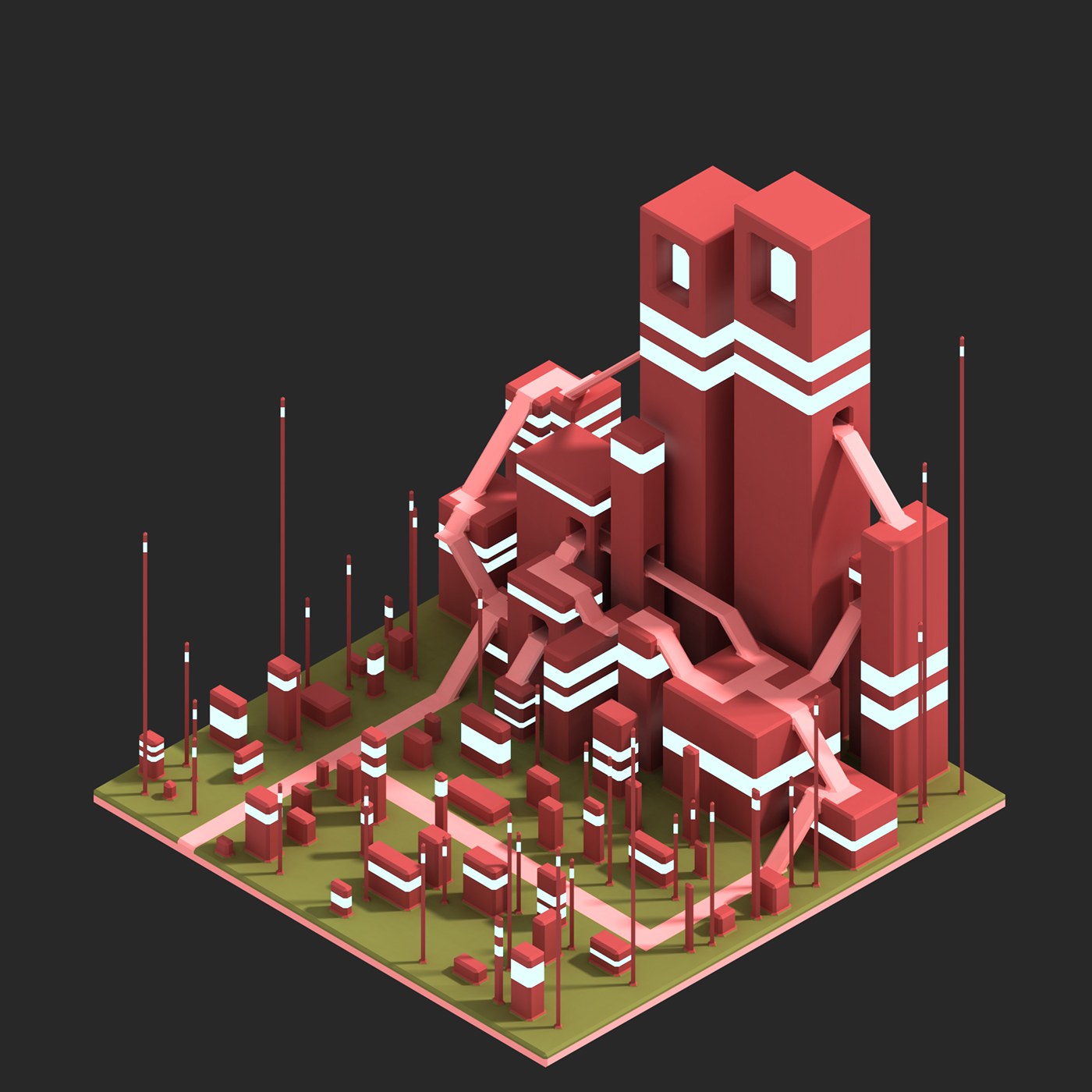 3D voxel Pixel art voxelart design concept gamedev game monument Isometric