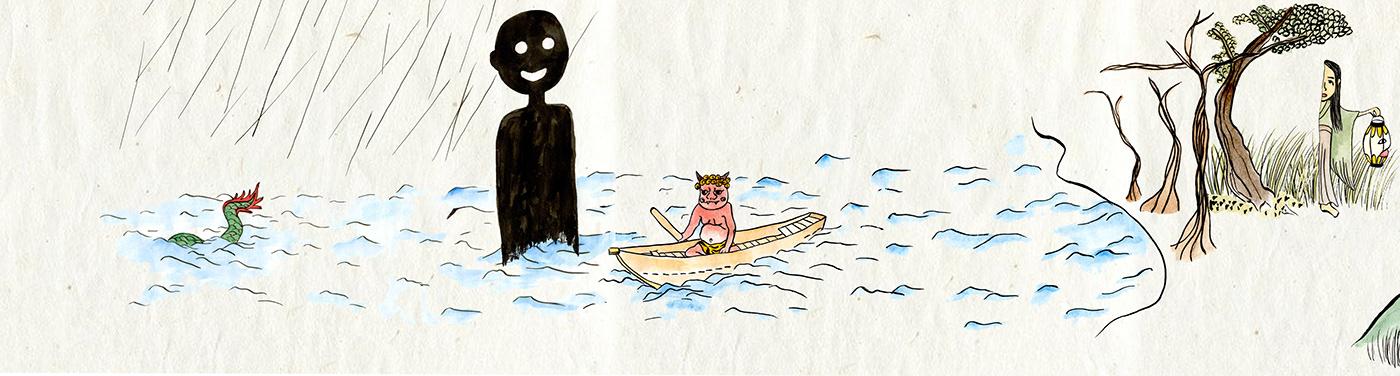 demon monster japanes yokai scroll story ghost folktale watercolor ILLUSTRATION