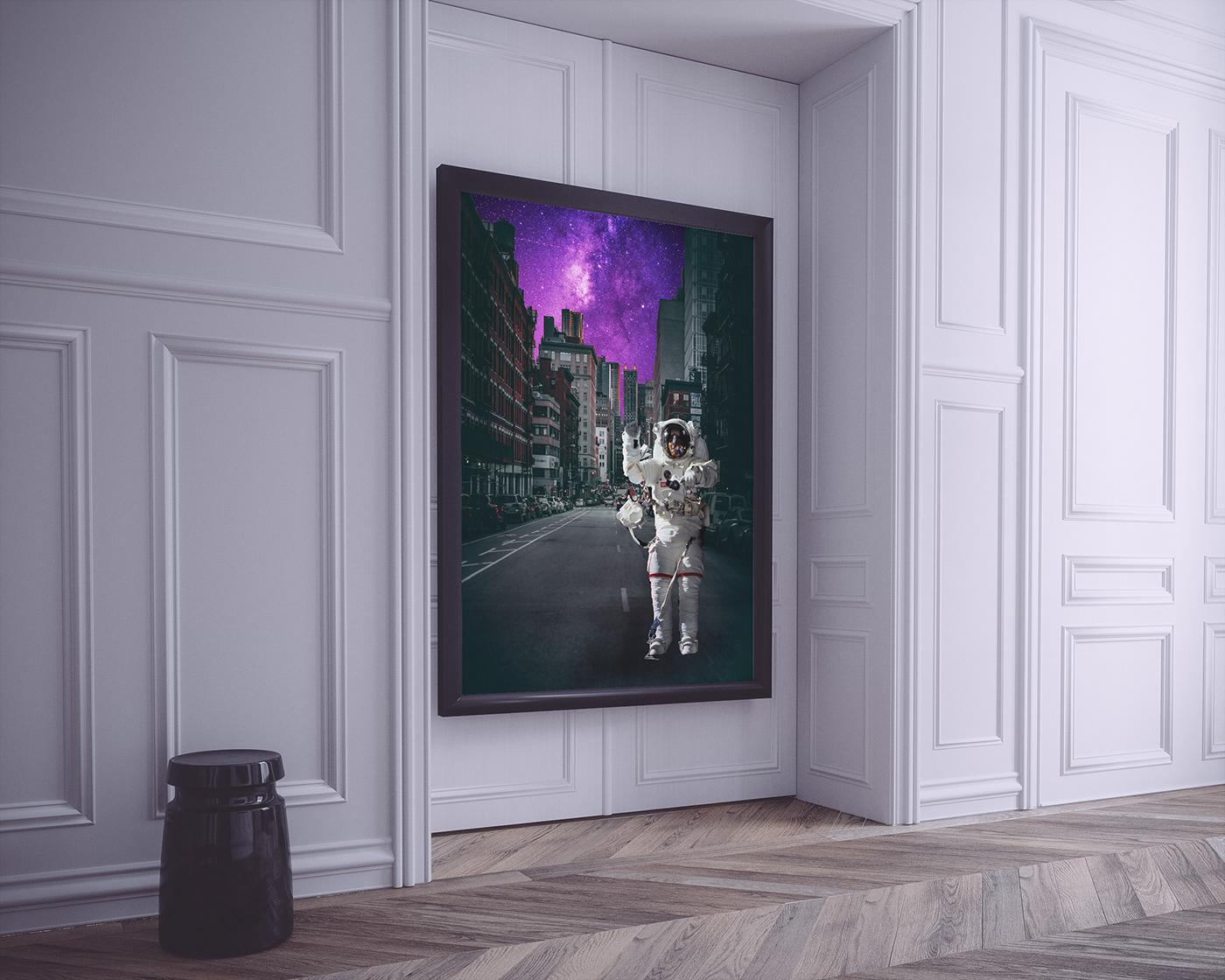 astronaut galaxy manipulation photoshop city